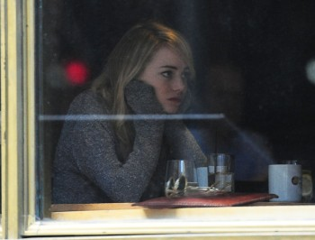 Emma Stone having lunch with a friend in L.A. today