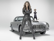 Elizabeth Hurley : Hot 'Leather Catsuit' Wallpapers x 4