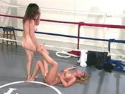 Dog female wrestle domination