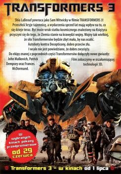 Tył ulotki filmu 'Transformers 3'
