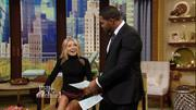 Kelly Ripa - legs - short skirt 10-29-13 caps