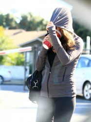 Mila Kunis Gets Camera Shy On Coffee Run in Sherman Oaks 11/8/13