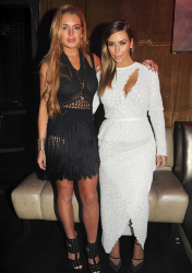 Kim Kardashian & Lindsay Lohan - At LIV Nightclub in Miami 12/4/13