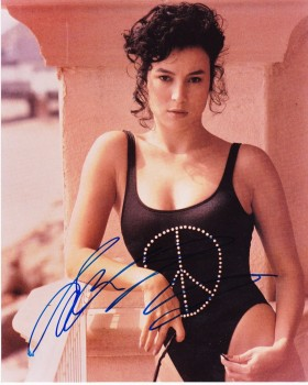 Jennifer Tilly: Young & Sexy In Black One Piece: HQ x 1